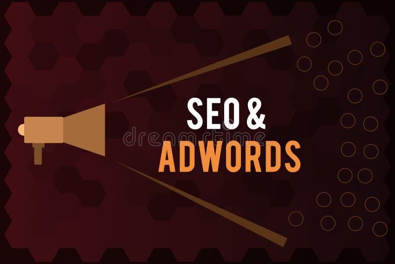 Texto Seo y Adwords de la escritura Paga del significado del concepto por el tecleo Digital que comercializa Google Adsense ilustración del vector