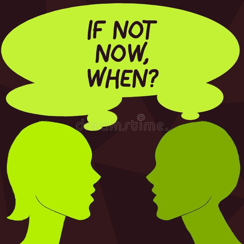 Texto si no ahora Whenquestion de la escritura Concepto que significa desafío preliminar de la blanco del plazo de la acción libre illustration