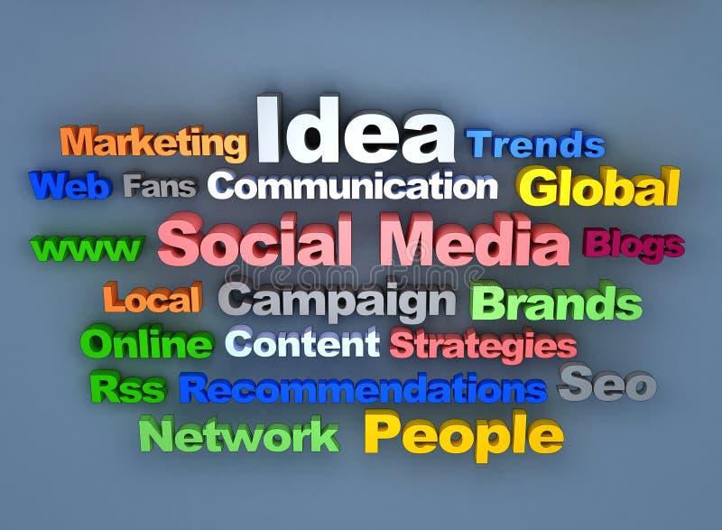 Texto social de los media stock de ilustración
