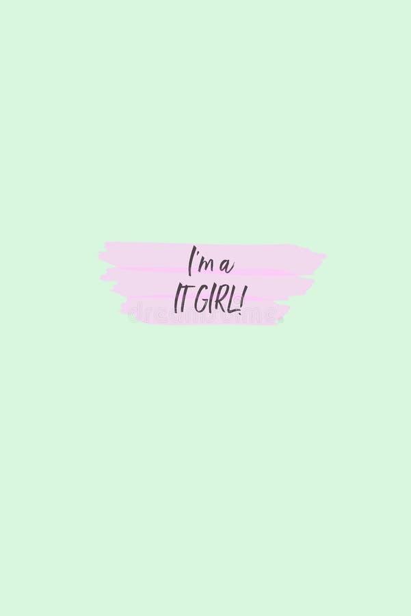 Texto soy él muchacha higlighted en rosa stock de ilustración