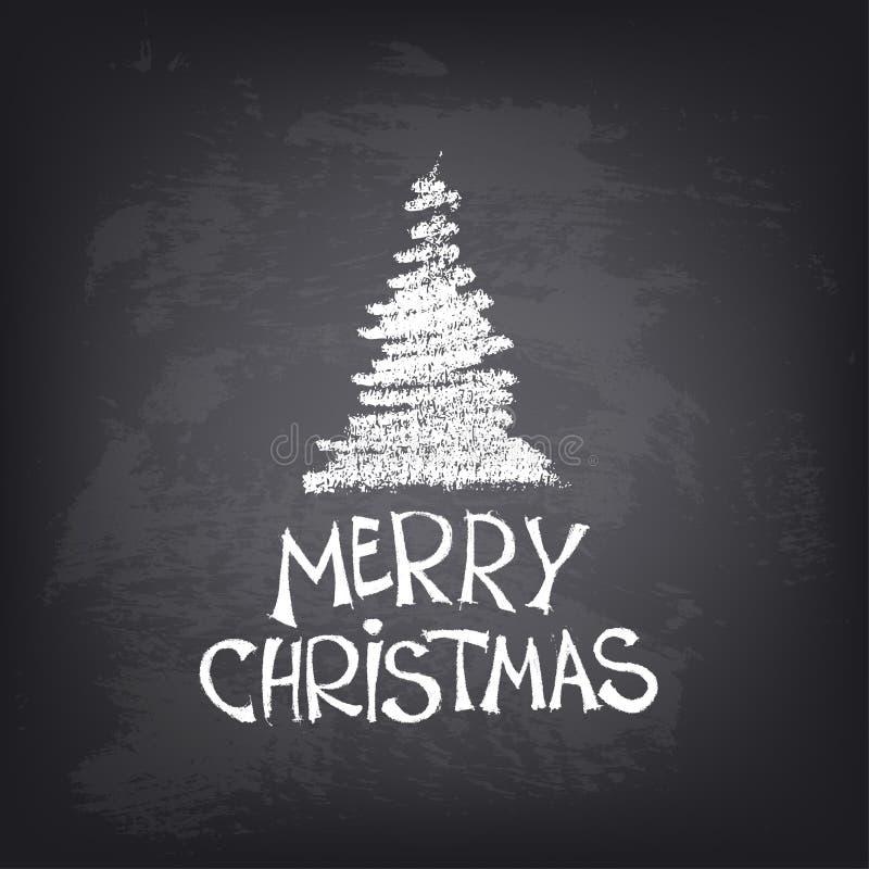 Texto tirado mão do Feliz Natal com árvore estilizado ilustração do vetor