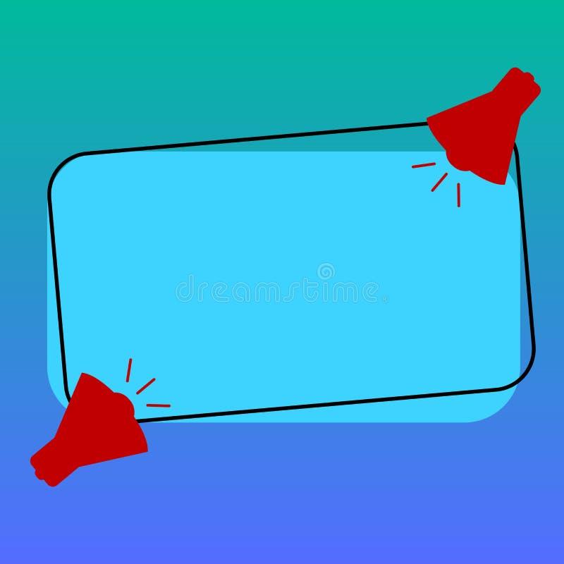 Texto vacío del espacio de la copia del negocio del diseño para el megáfono aislado promoción de la plantilla dos de la bandera d stock de ilustración