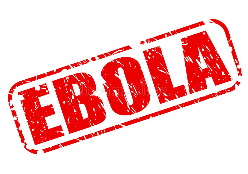 Texto vermelho do selo de EBOLA ilustração do vetor