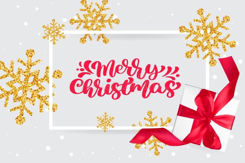 Texto vermelho do vetor da rotulação da caligrafia do vintage do Feliz Natal no cartão de Natal do cumprimento com flocos de neve ilustração royalty free