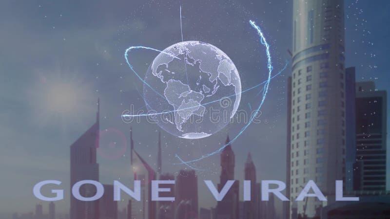 Texto viral ido com holograma 3d da terra do planeta contra o contexto da metr?pole moderna ilustração stock