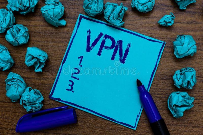 Texto Vpn da escrita O significado do conceito fixou a rede virtual privada através domínio confidencial da imaginação de papel c fotos de stock