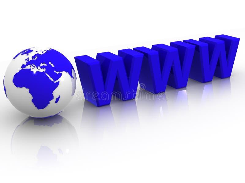 Texto WWW com terra ilustração do vetor