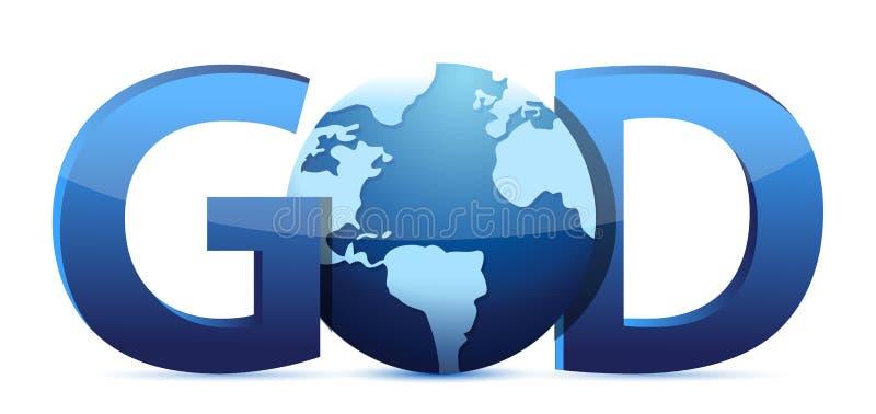 Texto y globo de dios stock de ilustración