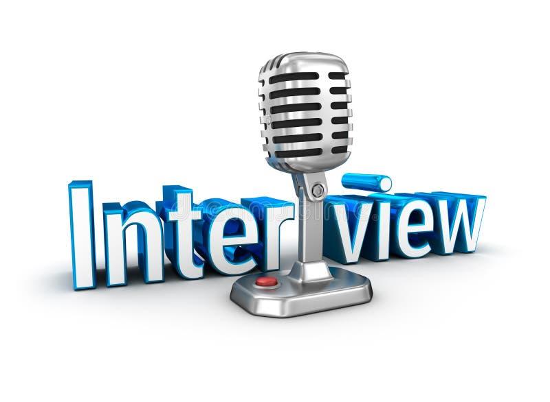 Texto y micrófono de la entrevista stock de ilustración