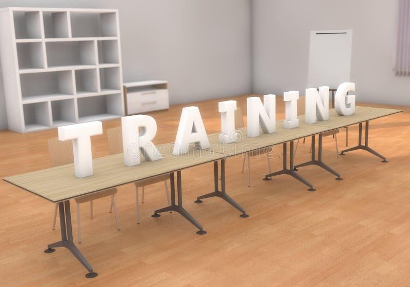 Texto y sala de clase del entrenamiento ilustración del vector