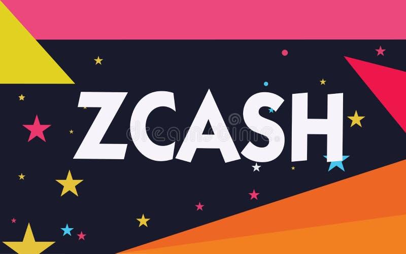 Texto Zcash de la escritura de la palabra Concepto del negocio para el cryptocurrency con el blockchain descentralizado que propo libre illustration