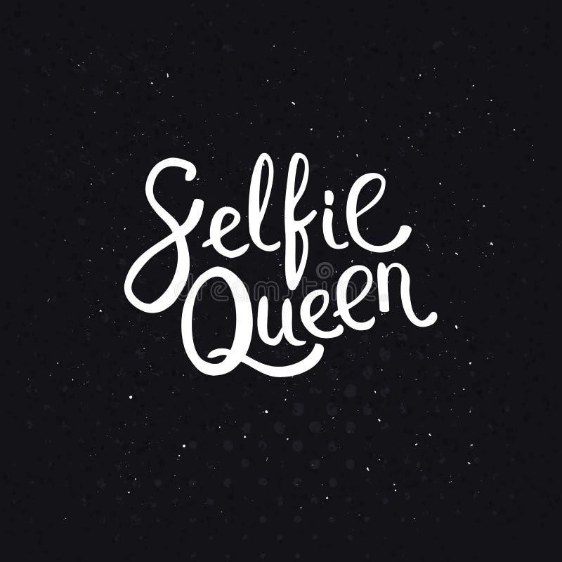 Textos da rainha de Selfie no fundo preto abstrato ilustração do vetor