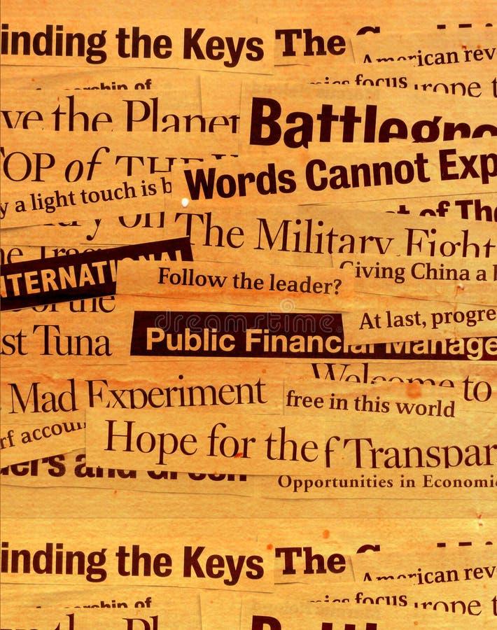 Textos de papel da notícia imagens de stock