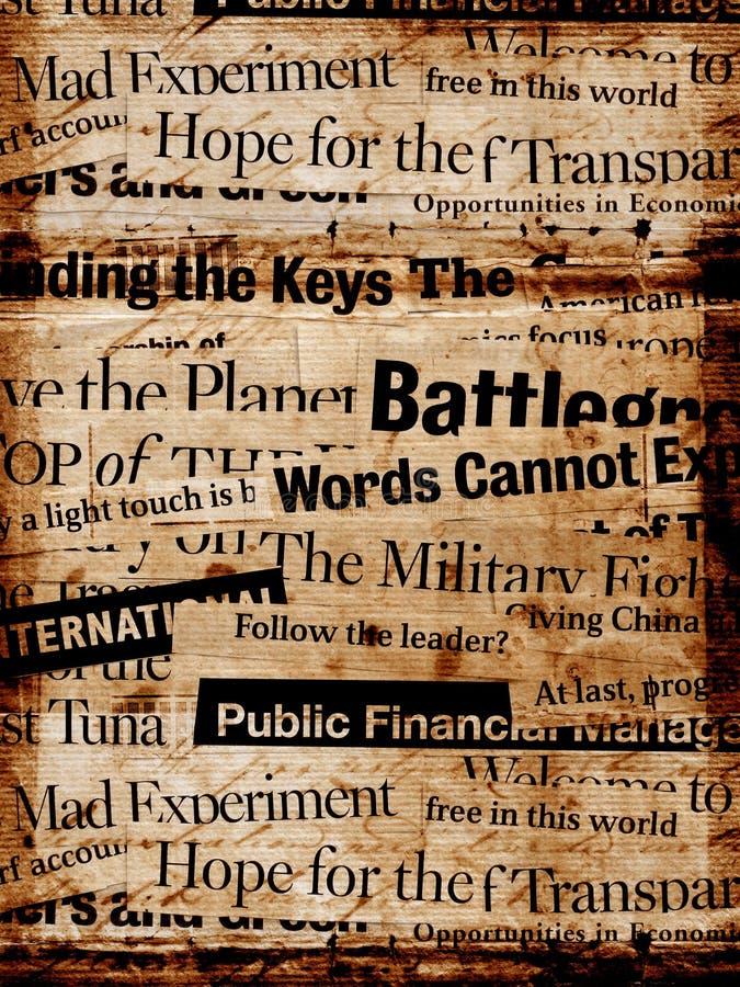 Textos de papel da notícia fotografia de stock