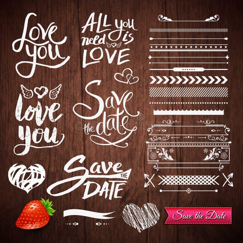 Textos del amor, fronteras, símbolos en fondo de madera ilustración del vector