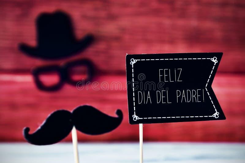 Textotez feliz dia del padre, jour de pères heureux dans l'Espagnol image stock
