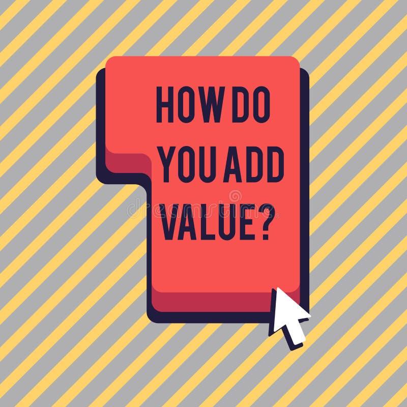 Textotez l'apparence de signe comment vous ajoutez la question de valeur La photo conceptuelle améliorent la direction de process illustration libre de droits
