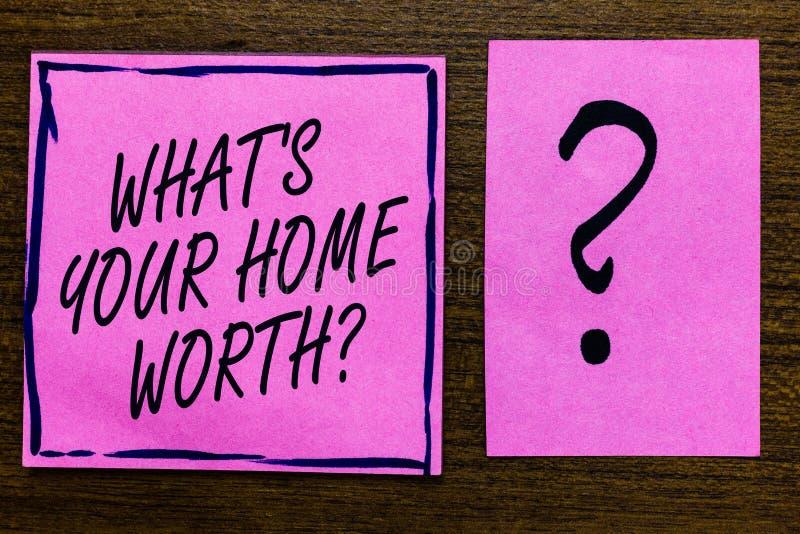 Textotez l'apparence de signe quel s est votre à la maison en valeur la question Valeur conceptuelle de photo d'un prix de revien illustration stock
