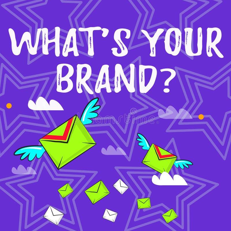 Textotez l'apparence de signe quel S votre question de marque La photo conceptuelle s'enquérant du logo de produit fait ou ce que illustration stock