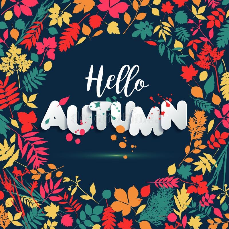 Textotez l'automne dans le style de papier sur le fond multicolore avec des feuilles d'automne Le grunge tiré par la main éponge  illustration libre de droits