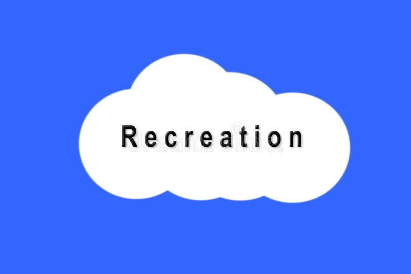 Textotez la récréation sur le nuage blanc sur le fond bleu photographie stock