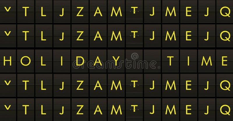 Textotez la secousse du panneau du panneau d'affichage d'aéroport avec du temps de vacances de nom de mots, voyage, vacances et d illustration stock