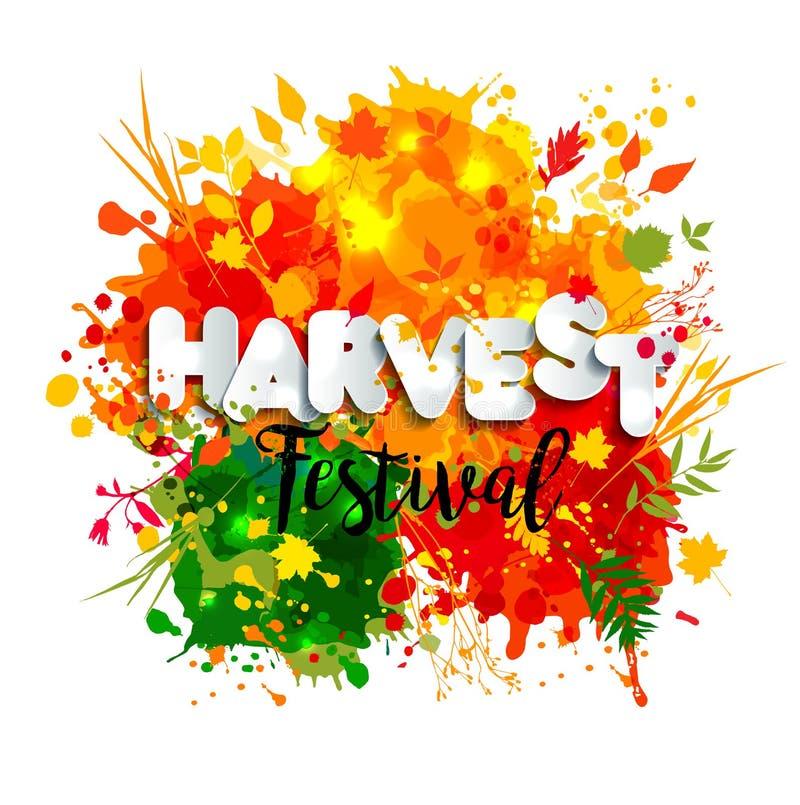 Textotez le festival de récolte dans le style de papier sur le fond multicolore avec des feuilles d'automne illustration libre de droits