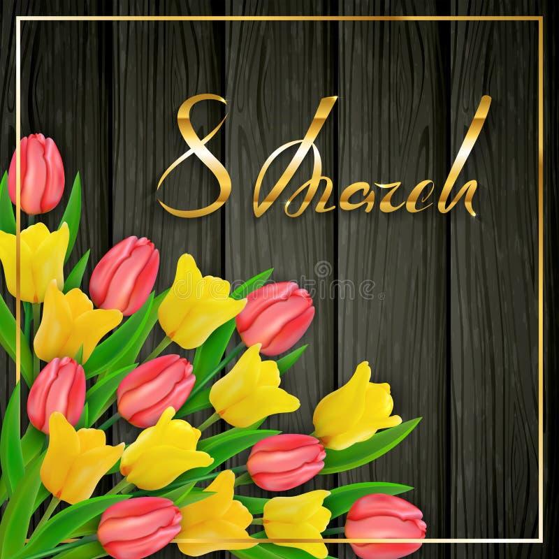 Textotez le jour des femmes du 8 mars sur le fond en bois noir avec des tulipes illustration stock