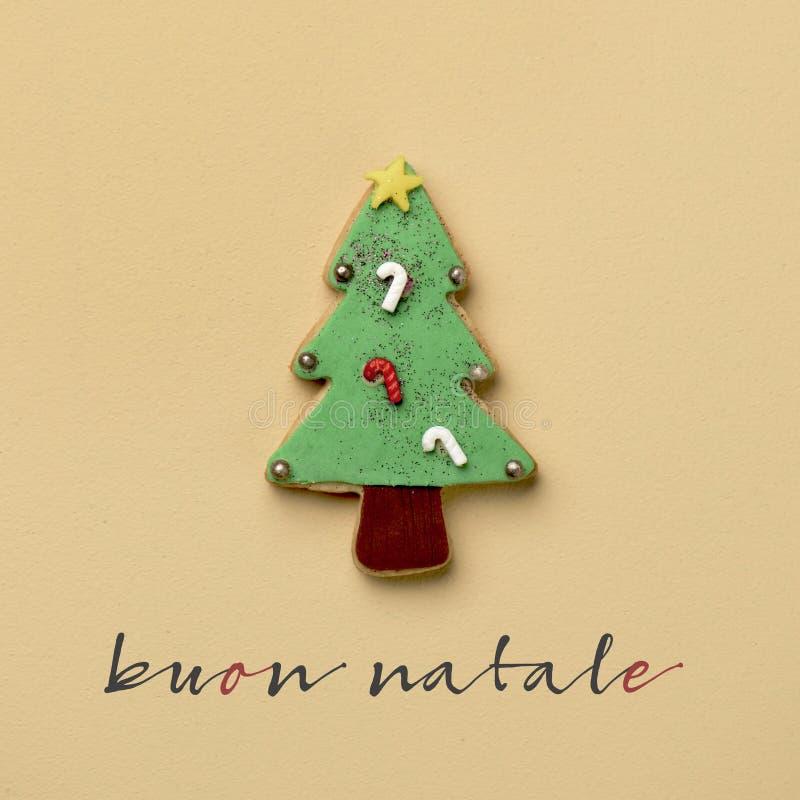 Textotez le natale de buon, Joyeux Noël en italien images stock