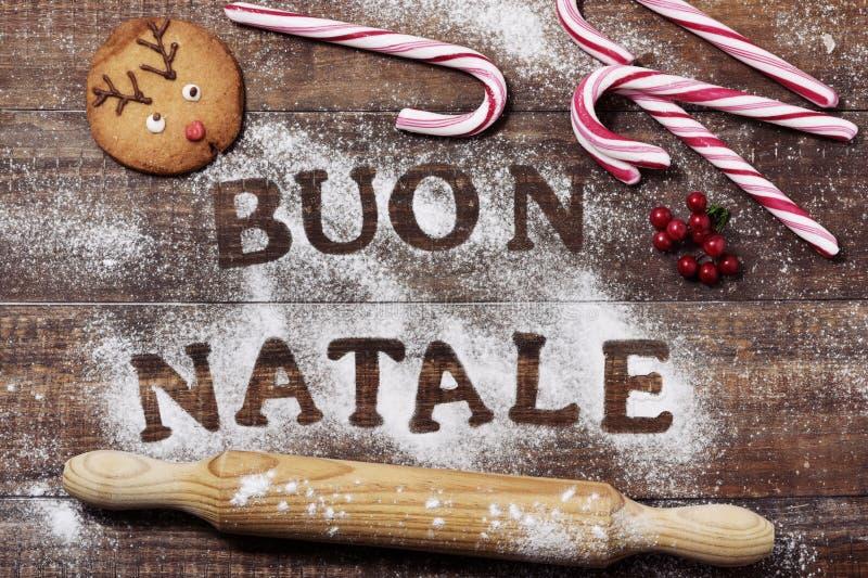 Textotez le natale de buon, Joyeux Noël en italien image libre de droits