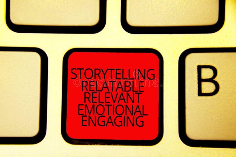 Textotez le signe montrant à fabulation s'engager émotif approprié racontable Clavier conceptuel Inten principal rouge de contes  illustration stock