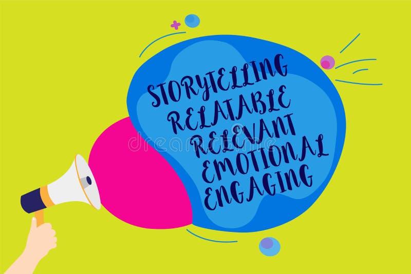 Textotez le signe montrant à fabulation s'engager émotif approprié racontable Les contes conceptuels de souvenirs de part de phot illustration stock