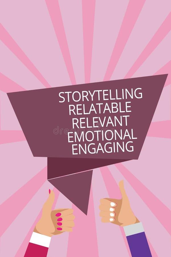 Textotez le signe montrant à fabulation s'engager émotif approprié racontable Les contes conceptuels de souvenirs de part de phot illustration libre de droits