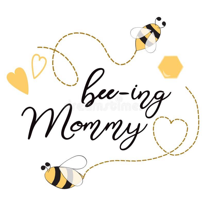 Textotez les coeurs décorés par maman d'abeille-ing, calibre doux de carte d'abeilles de miel pour le jour de mères, fête de nais illustration libre de droits