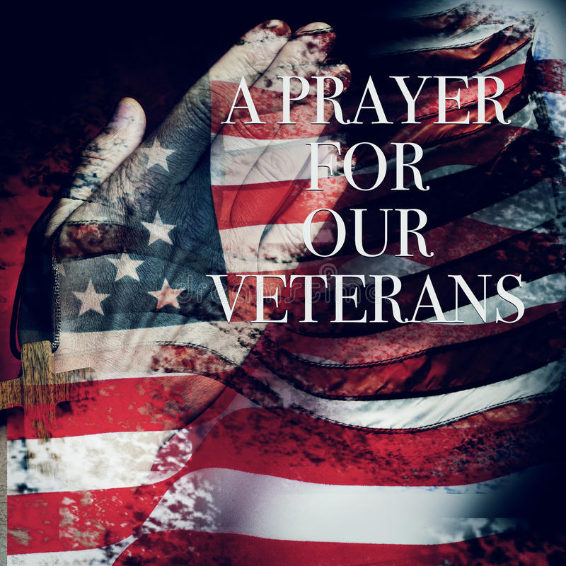 Textotez une prière pour nos vétérans et le drapeau des USA image libre de droits