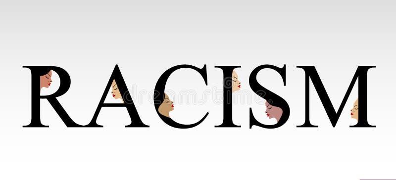Textrassismus mit Gesichtern vektor abbildung
