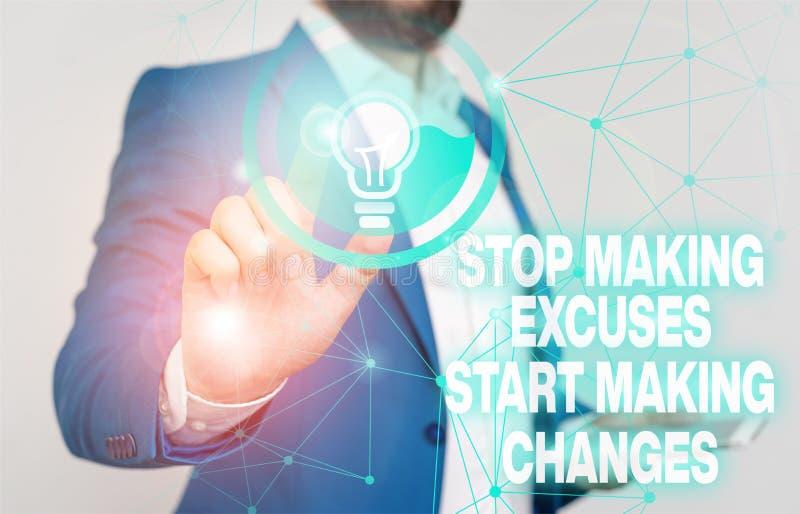 Textschreiben beenden Ausreden anfangen Änderungen vorzunehmen Business Concept for Do gibt keine Entschuldigung Akt statt männli lizenzfreie stockfotografie