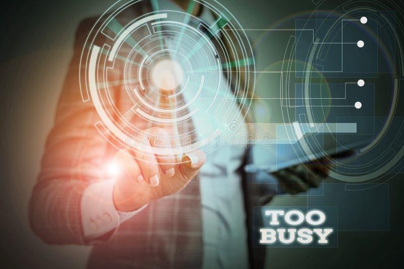 Textschreiben zu beschäftigt Business-Konzept für 'No time' zu entspannen keine Zeit für so viel Arbeit oder zu tun haben, um so  stockbild