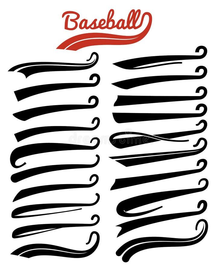 Textswooshes Typografi vinar svansar för tecken för fotboll- eller baseballsportlag Den smsande retro svansen understryker design royaltyfri illustrationer