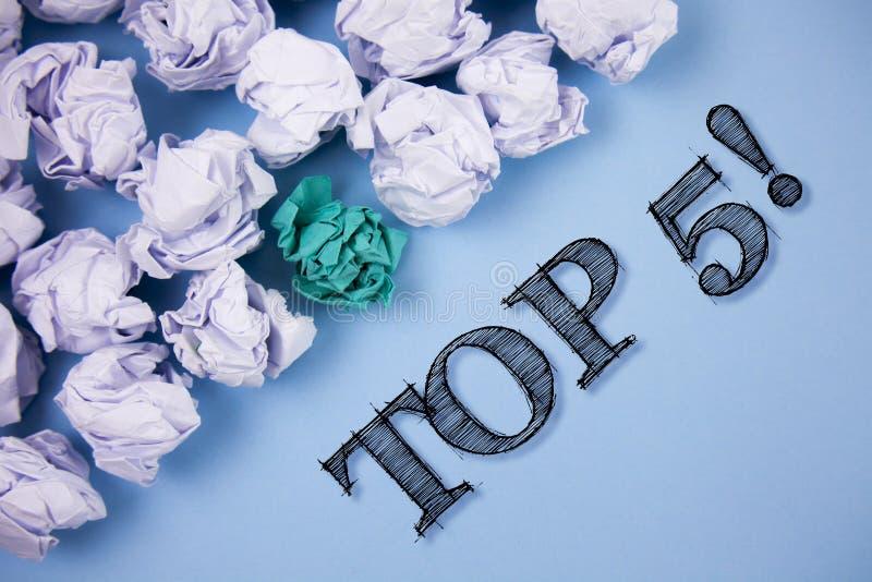 Texttecken som top 5 visar Motivational appell Begreppsmässigt foto de bästa vinnare mest populära bästsäljare som är skriftliga  royaltyfri illustrationer