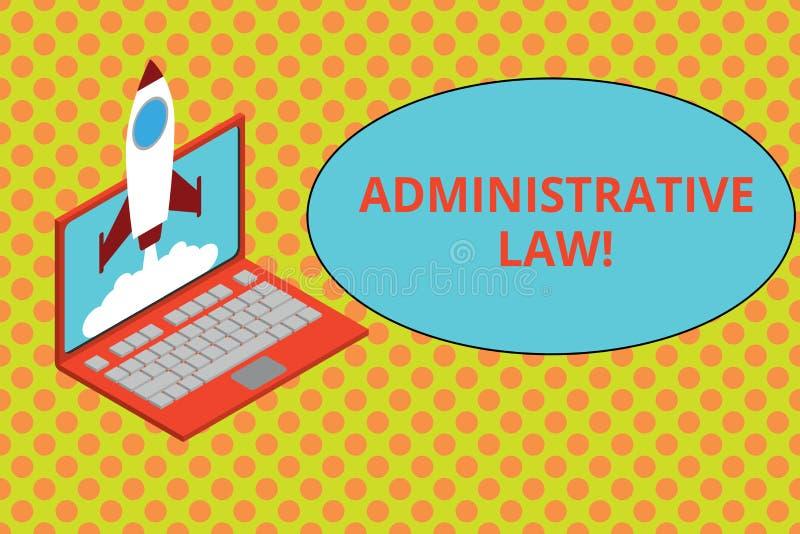 Texttecken som visar administrativ lag Begreppsmässig fotokropp av regelreglementebeställningar som skapas av en regeringraket stock illustrationer