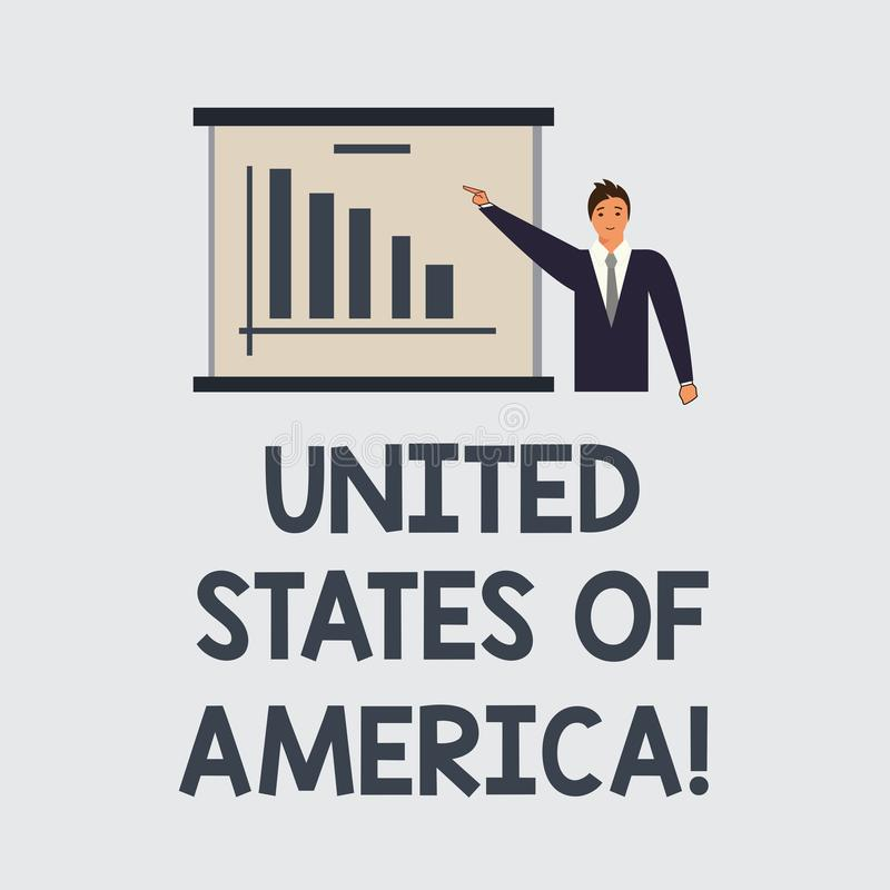 Texttecken som visar Amerikas förenta stater Begreppsmässigt fotoland i den norr huvudWashington DCmannen i affär royaltyfri illustrationer