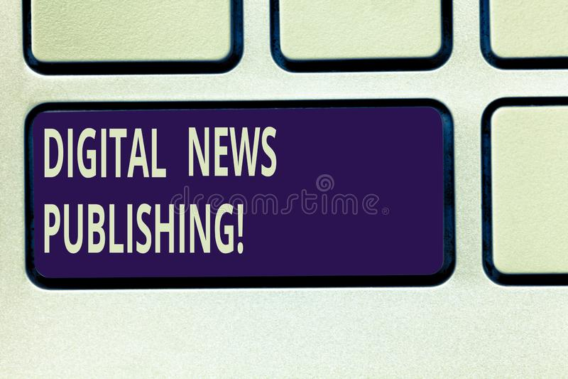 Texttecken som visar att publicera för Digital nyheterna Elektronisk TV-sändningrapport för begreppsmässigt foto av det aktuella  arkivbilder