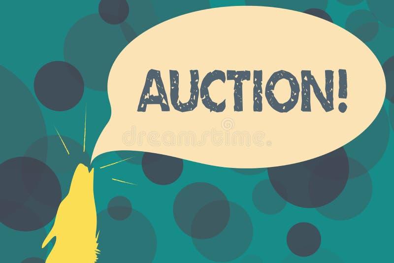 Texttecken som visar auktion Begreppsmässigt gods eller egenskap för offentlig försäljning för foto som säljs till köpet för högs stock illustrationer