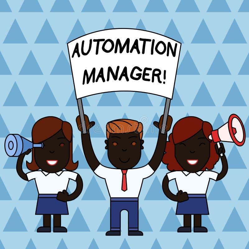 Texttecken som visar automationchefen Det begreppsmässiga fotoet avlägsnar repetiative uppgifter över ditt folk för kundgrunden m stock illustrationer