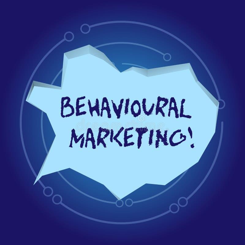 Texttecken som visar beteende- marknadsföring Begreppsmässiga fotomålkonsumenter som baseras på deras uppförande på webbpla vektor illustrationer