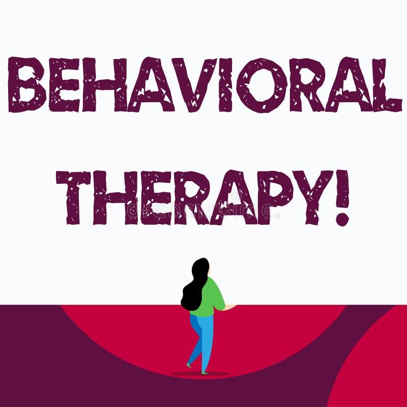 Texttecken som visar beteende- terapi Begreppsm?ssig fotohj?lp att ?ndra potentiellt selfdestructive uppf?randen vektor illustrationer