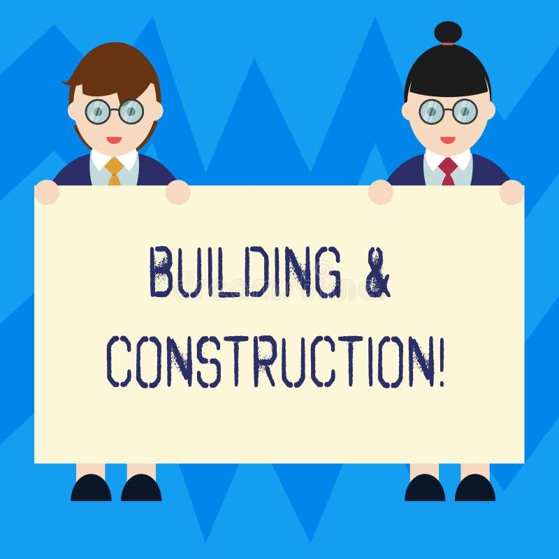 Texttecken som visar byggnad och konstruktion Begreppsmässigt foto arbetet av byggnad eller framställning något av mannen och kvi vektor illustrationer