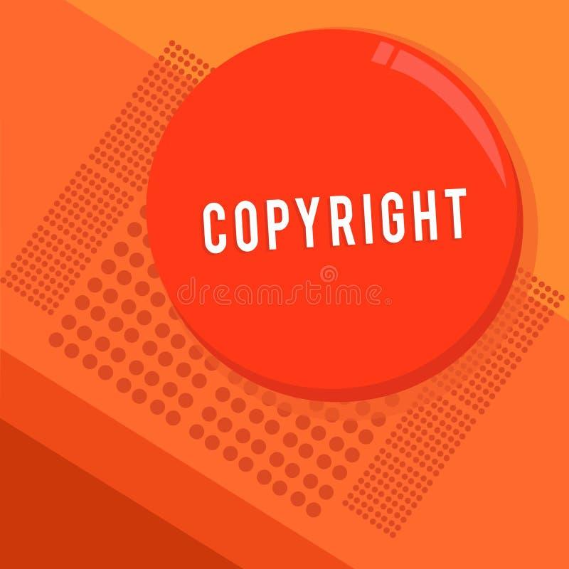Texttecken som visar Copyright Exklusivt begreppsmässigt foto och som kan tillskrivas laglig höger rund rund halvton för fallen f vektor illustrationer