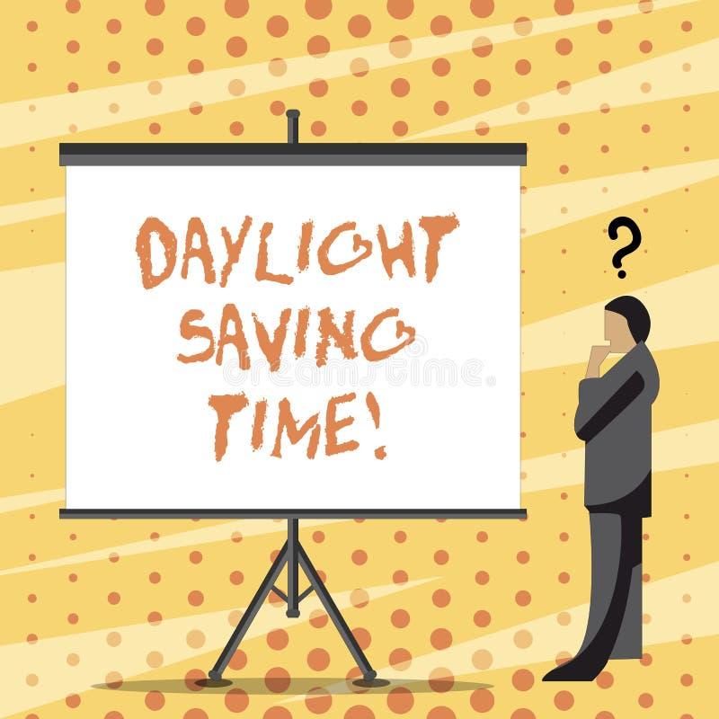 Texttecken som visar dagsljus som sparar Tid Flyttande fram klockor för begreppsmässigt foto under sommar som sparar elektricitet royaltyfri illustrationer
